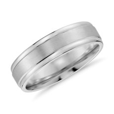 Brushed Inlay Wedding Ring In 14k White Gold 6mm