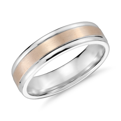 Brushed Inlay Wedding Ring in 14k White and Rose Gold 6mm Blue