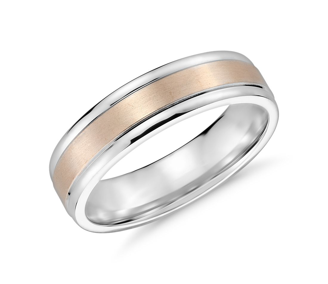 brushed inlay wedding ring in 14k white and rose gold 6mm - White Gold Wedding Ring