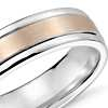 Brushed Inlay Wedding Ring in 14k White and Rose Gold (6mm)
