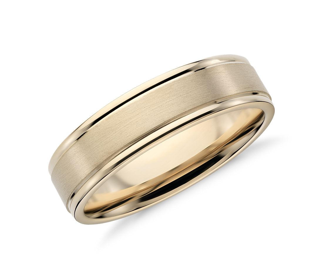 brushed inlay wedding ring in 14k yellow gold 6mm - Wedding Rings For Him