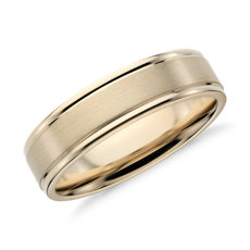Brushed Inlay Wedding Ring In 14k Yellow Gold 6mm