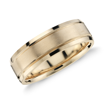 Brushed Inlay Wedding Ring in 14k Yellow Gold 5mm Blue Nile