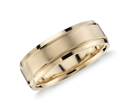Brushed Inlay Wedding Ring in 14k Yellow Gold (5mm)