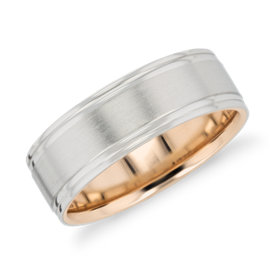 Brushed Inlay Wedding Ring in Platinum and 18k Rose Gold (7mm)