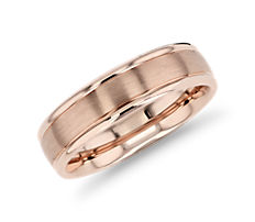 Brushed Inlay Wedding Ring in 14K Rose Gold (6mm)