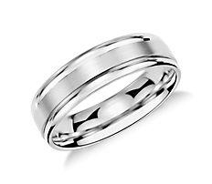 Brushed Inlay Wedding Ring in Platinum (6mm)