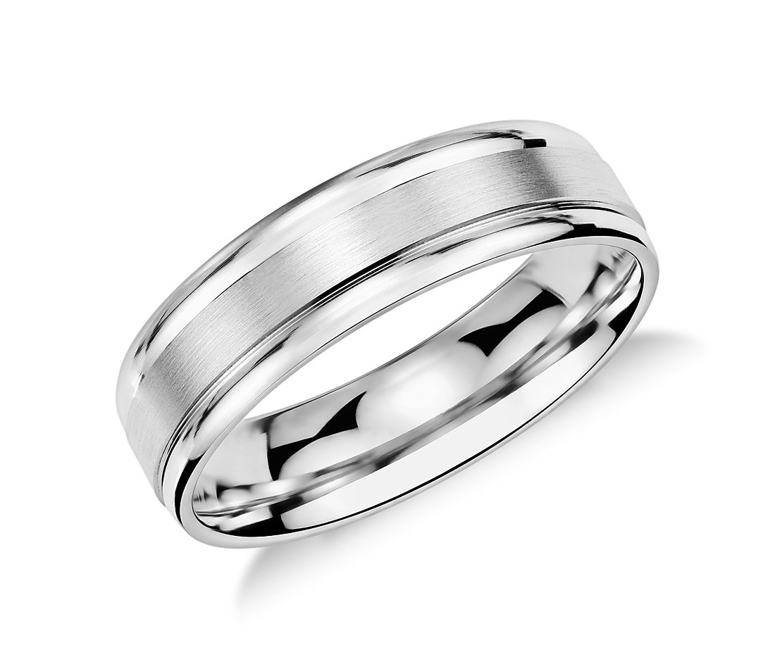 brushed inlay wedding ring in platinum 6mm - Wedding Ringscom