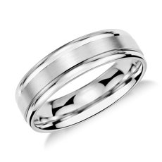 brushed inlay wedding ring in platinum 6mm - Wedding Rings Men
