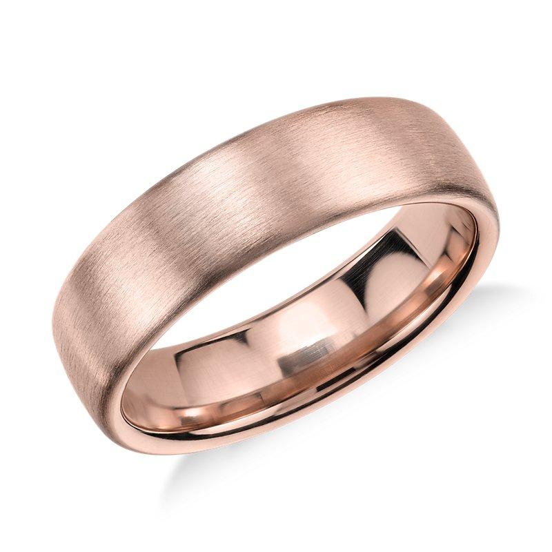 Matte Modern Comfort Fit Wedding Ring in 14k Rose Gold (5.5mm)