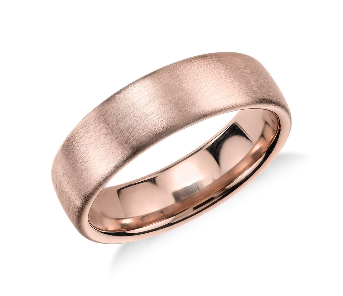 Matte modern comfort fit wedding ring in 14k rose gold 5 for Wedding ring fitters