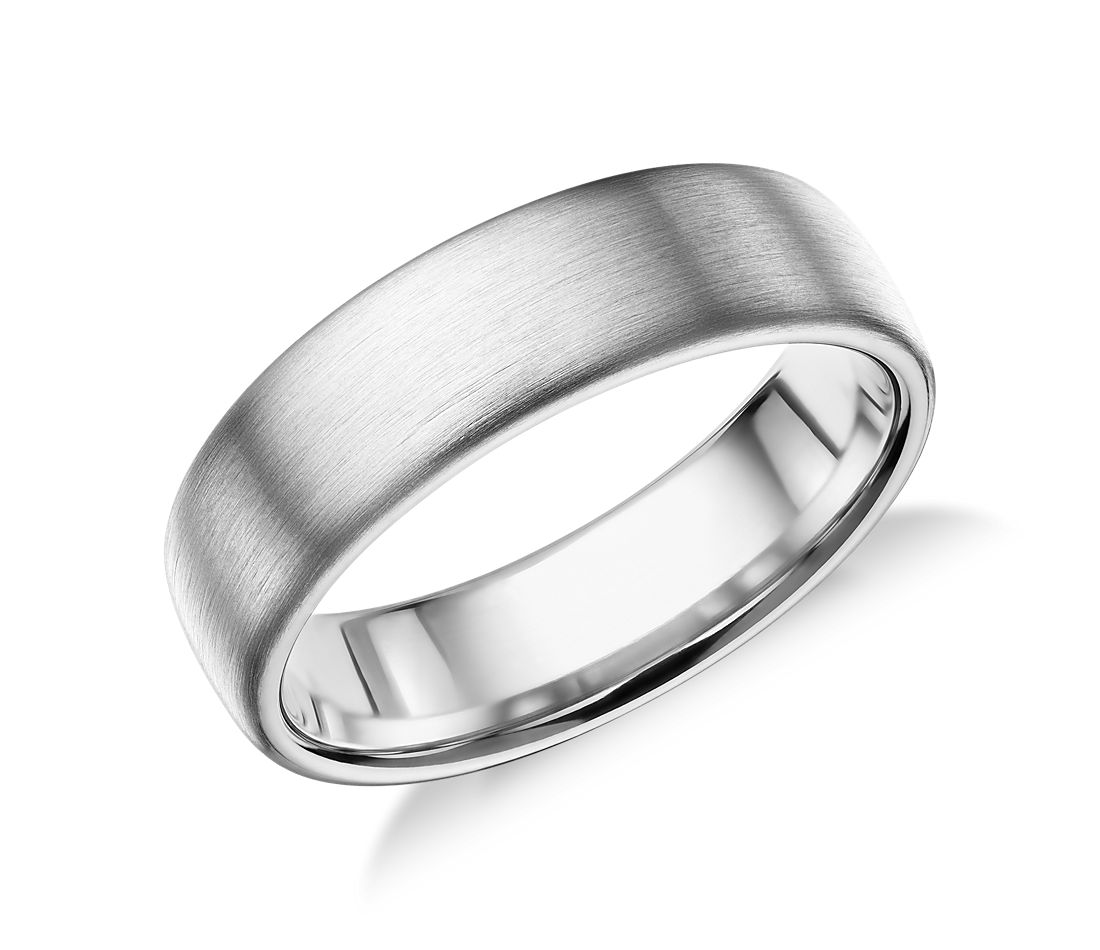 Matte Modern Comfort Fit Wedding Ring In 14k White Gold 6 5mm