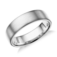 Matte Modern Comfort Fit Wedding Ring in 14k White Gold (6.5mm)