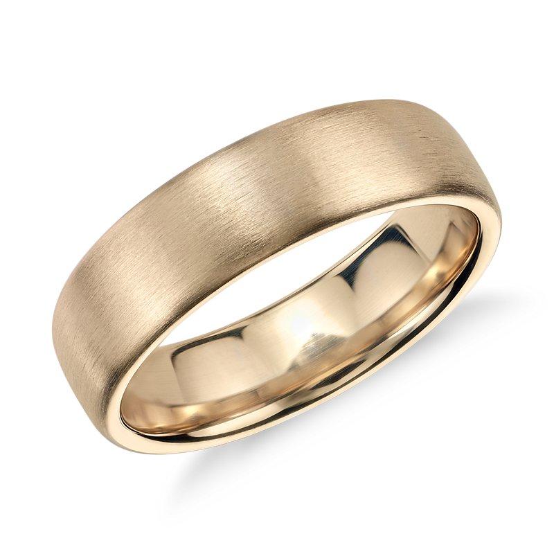 Matte Modern Comfort Fit Wedding Ring in 14k Yellow Gold (6.5mm)