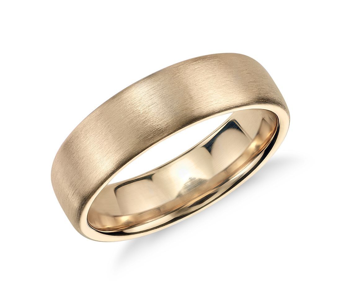 matte modern comfort fit wedding ring in 14k yellow gold 65mm - Wedding Ring Pics