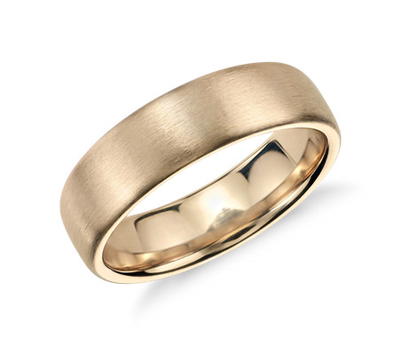 Matte Modern Comfort Fit Wedding Ring in 14k Yellow Gold (6.5mm)