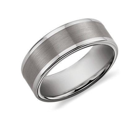 Satin Finish Wedding Ring in Grey Tungsten Carbide (8mm)