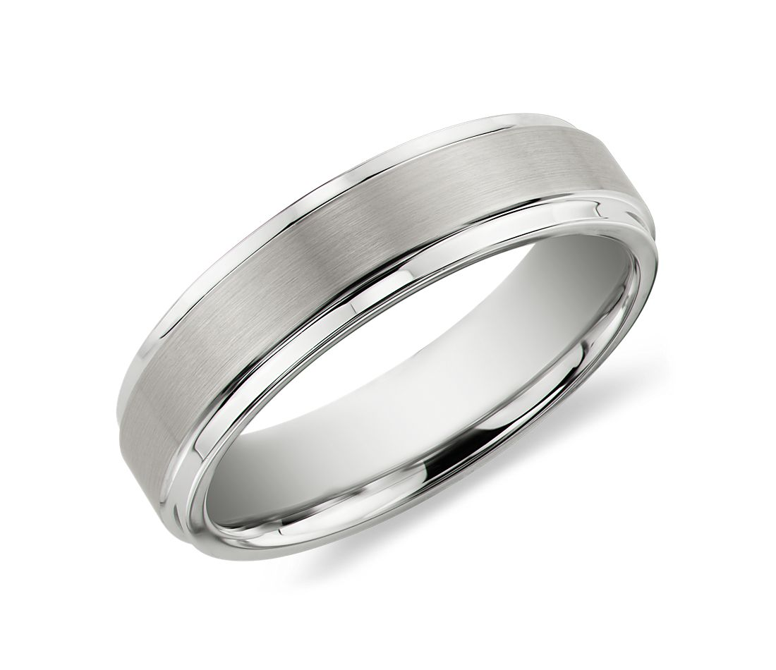 Brushed And Polished Comfort Fit Wedding Ring In White Tungsten