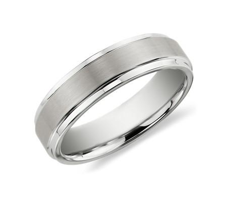 白色碳化钨刷面处理及抛光内圈圆弧设计结婚戒指<br>(6毫米)