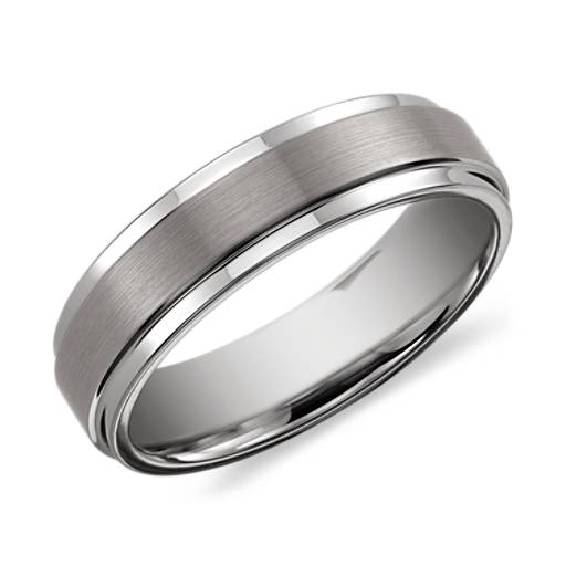 brushed and polished comfort fit wedding ring in classic gray tungsten carbide 6mm blue nile - Tungsten Wedding Ring
