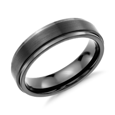 Brushed and Polished Comfort Fit Wedding Ring in Black Tungsten