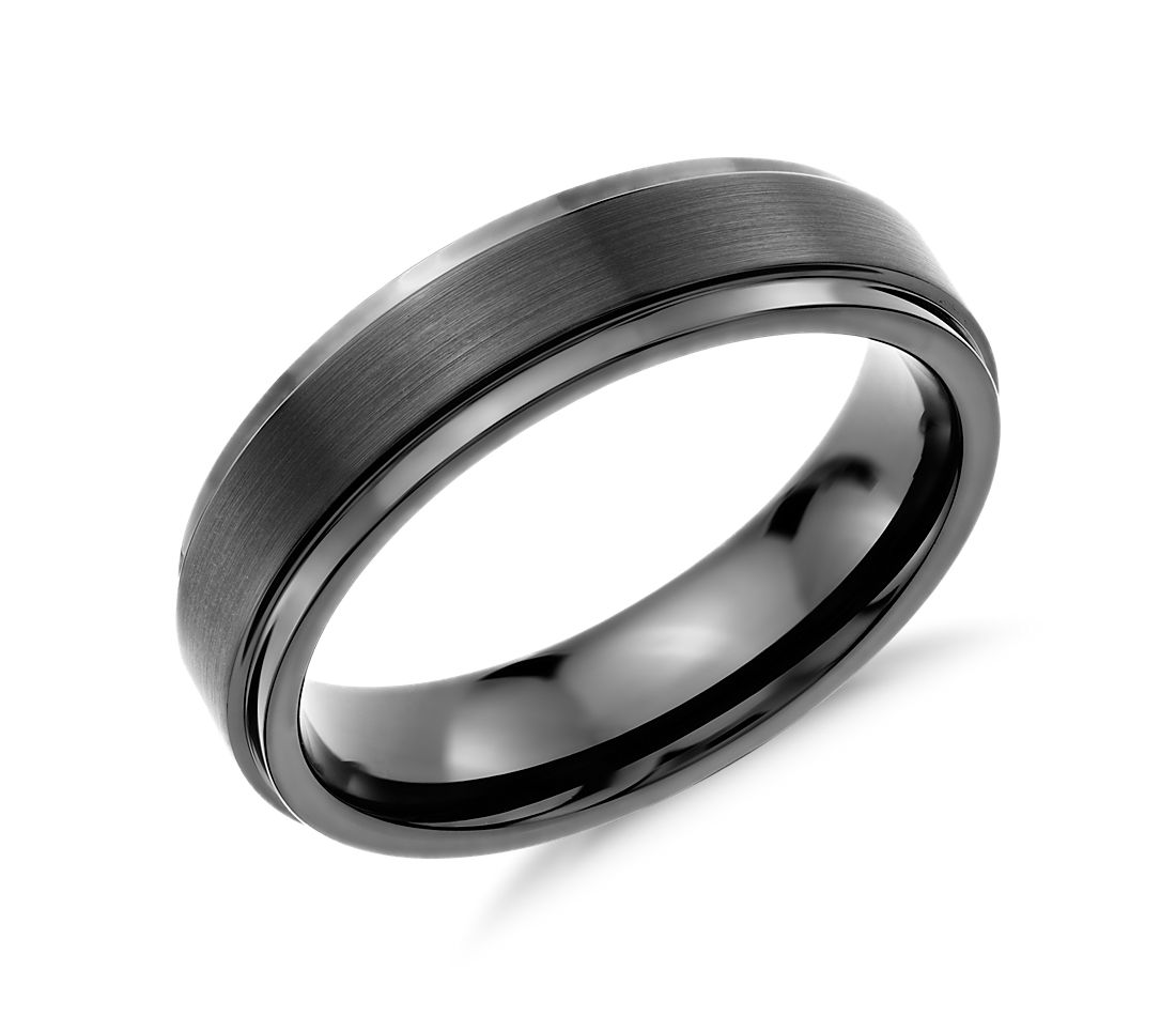 brushed and polished comfort fit wedding ring in black tungsten carbide 6mm - Wedding Rings Black