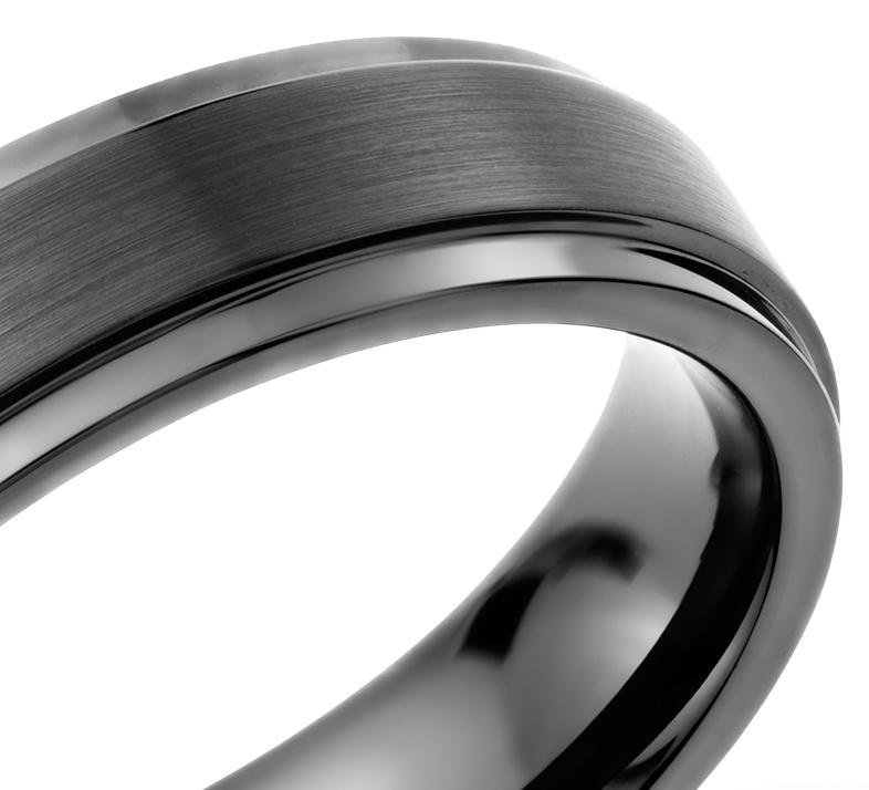 Alliance agréable à porter brossée et polie en carbure de tungstène noir (6mm)