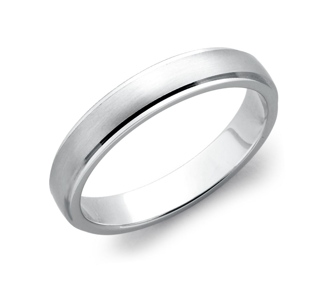 Alliance confort brossée et polie en or blanc 14 carats (4 mm)