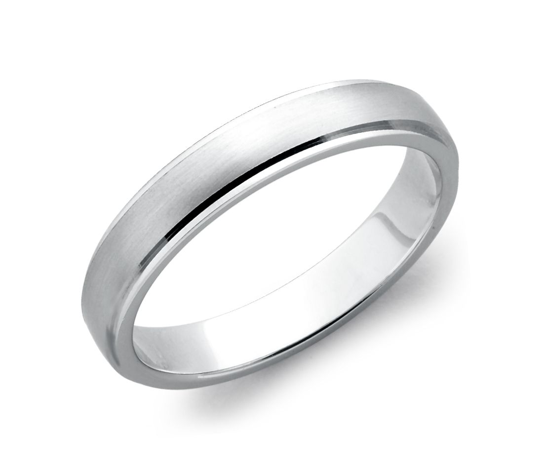 Brushed And Polished Wedding Ring In Platinum 4mm