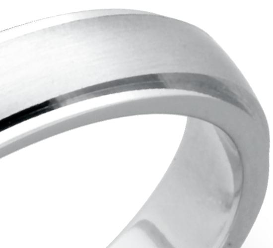 Alliance confort brossée et polie en platine (4mm)