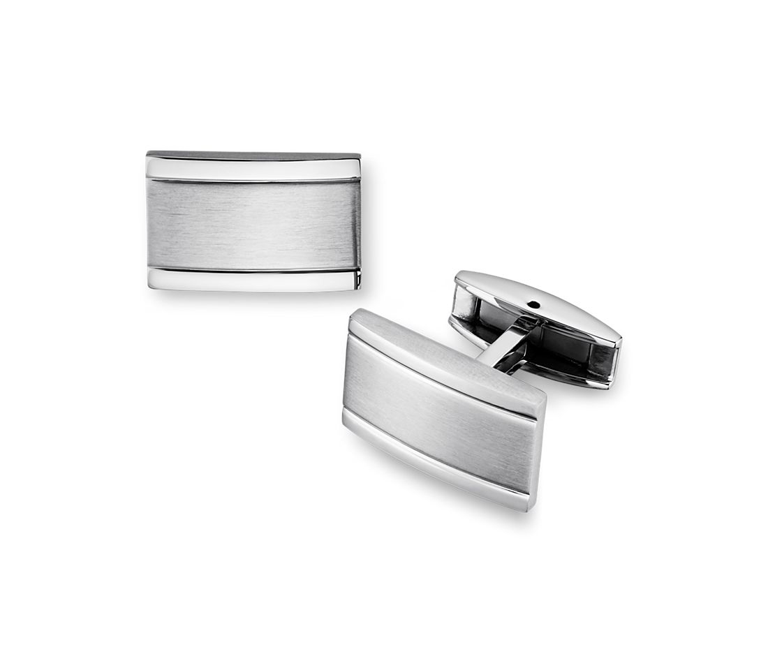 Brushed and Polished Cuff Links in Stainless Steel