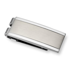 Brushed and Polished Money Clip in Stainless Steel
