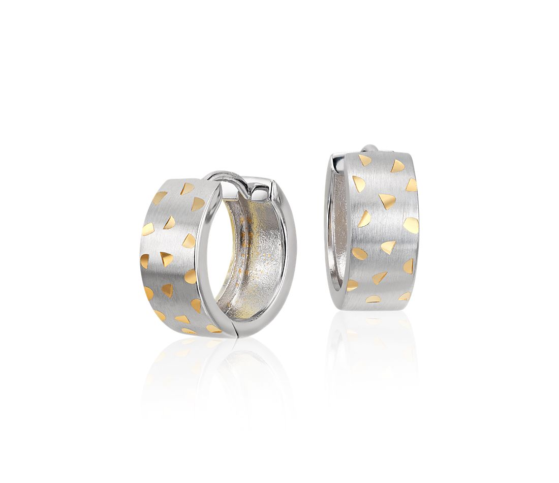 "Brushed Two-Tone Huggie Hoop Earrings in Sterling Silver and Yellow Gold Vermeil (7/16"")"