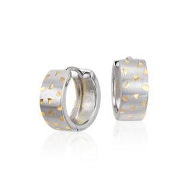 磨砂双色开合式圈形耳环,925 纯银及黄金镀金制品 (7/16 英寸)