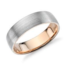 铂金与 18k 玫瑰金哑光经典结婚戒指<br>(6毫米)