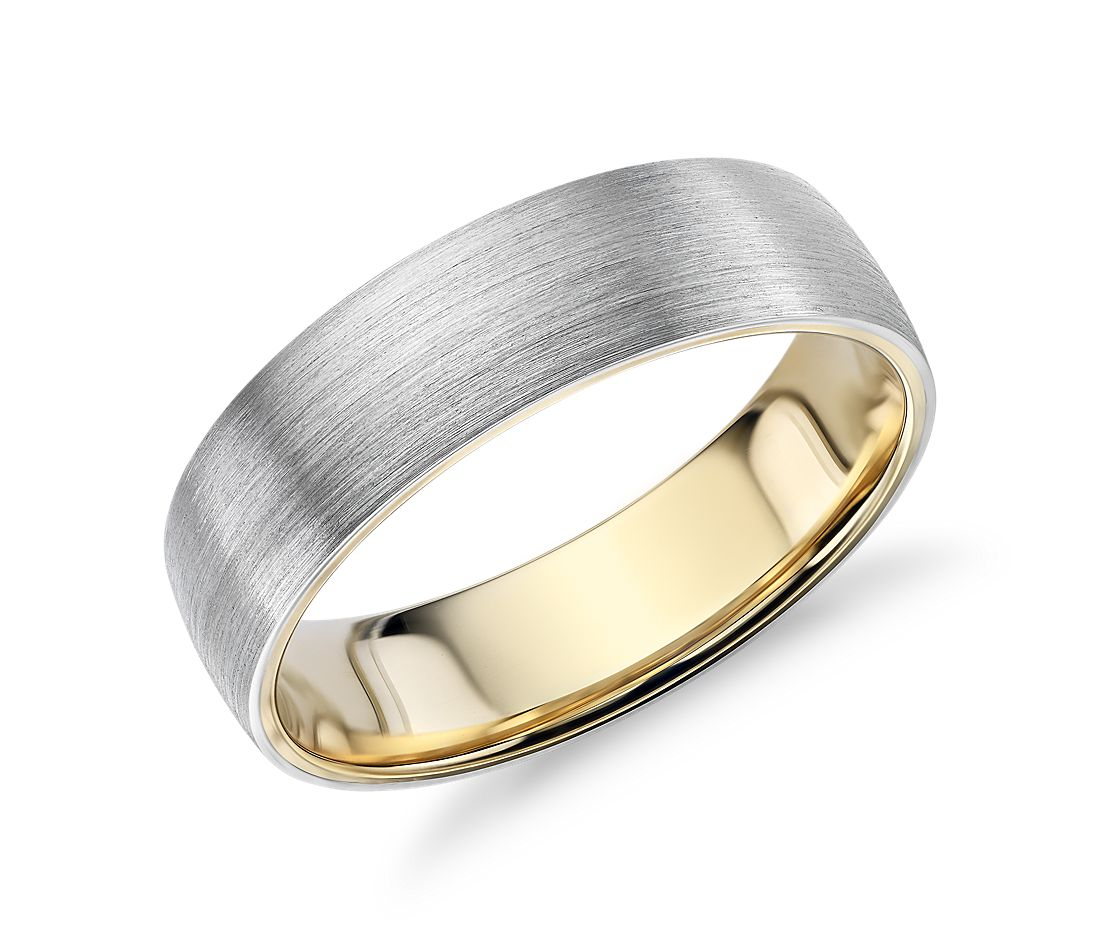 Matte Classic Wedding Ring in Platinum and 18k Yellow Gold (6mm)