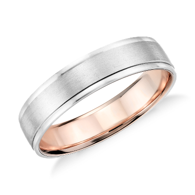 Brushed Inlay Wedding Ring in Platinum and 18k Rose Gold 5mm