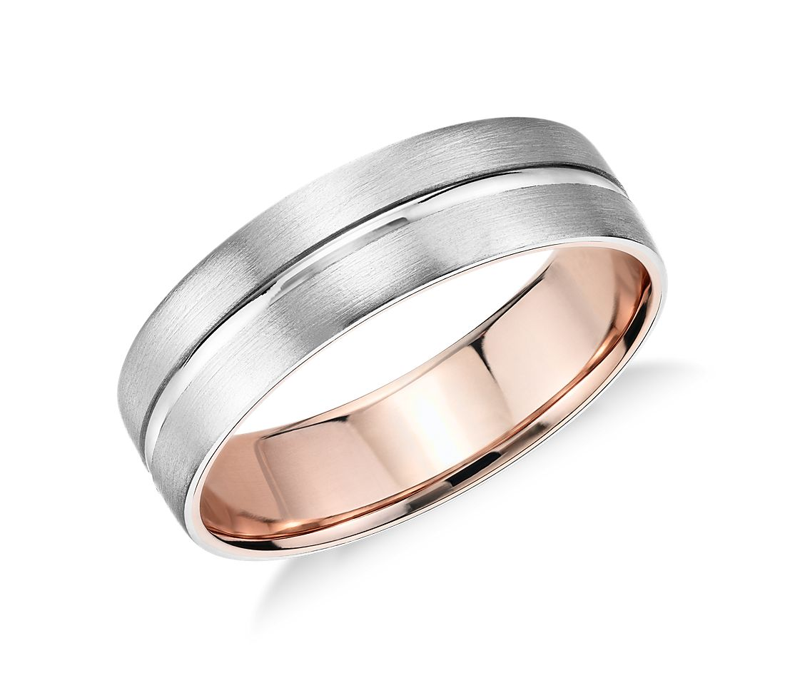matte inlay wedding ring in platinum and 18k rose gold 6mm - Mens Rose Gold Wedding Rings