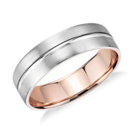 Alliance avec incrustation mate en platine et or rose 18 carats - (6 mm)