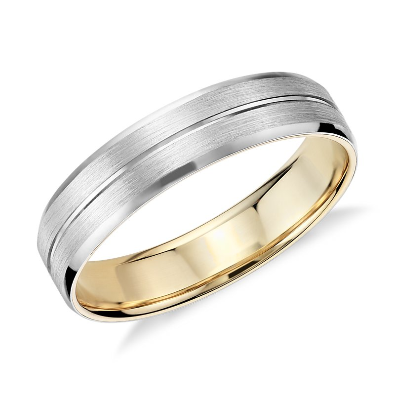 Matte Inlay Wedding Ring in Platinum and 18k Yellow Gold (5mm)
