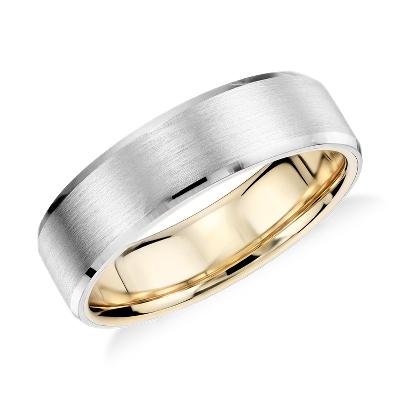 Matte Beveled Edge Wedding Ring in Platinum and 18K Yellow Gold