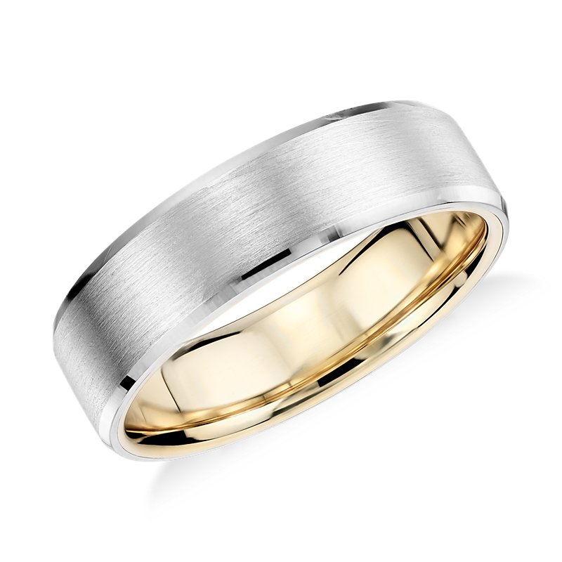 Matte Beveled Edge Wedding Ring in Platinum and 18K Yellow Gold (