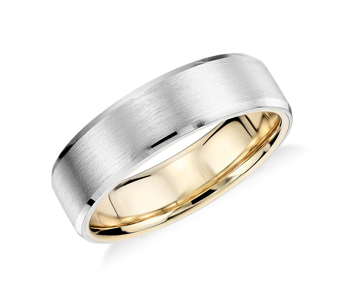 matte beveled edge wedding ring in platinum and 18k yellow gold 6mm - Platinum Wedding Rings