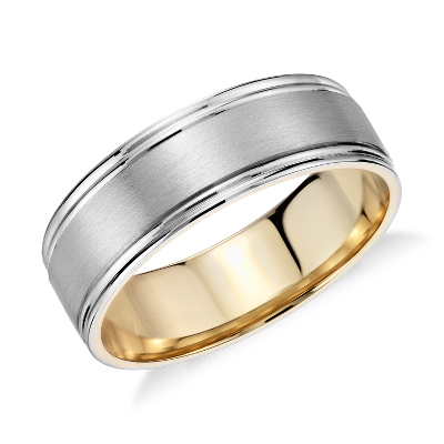 Brushed Inlay Wedding Ring in Platinum and 18k Yellow Gold 7mm