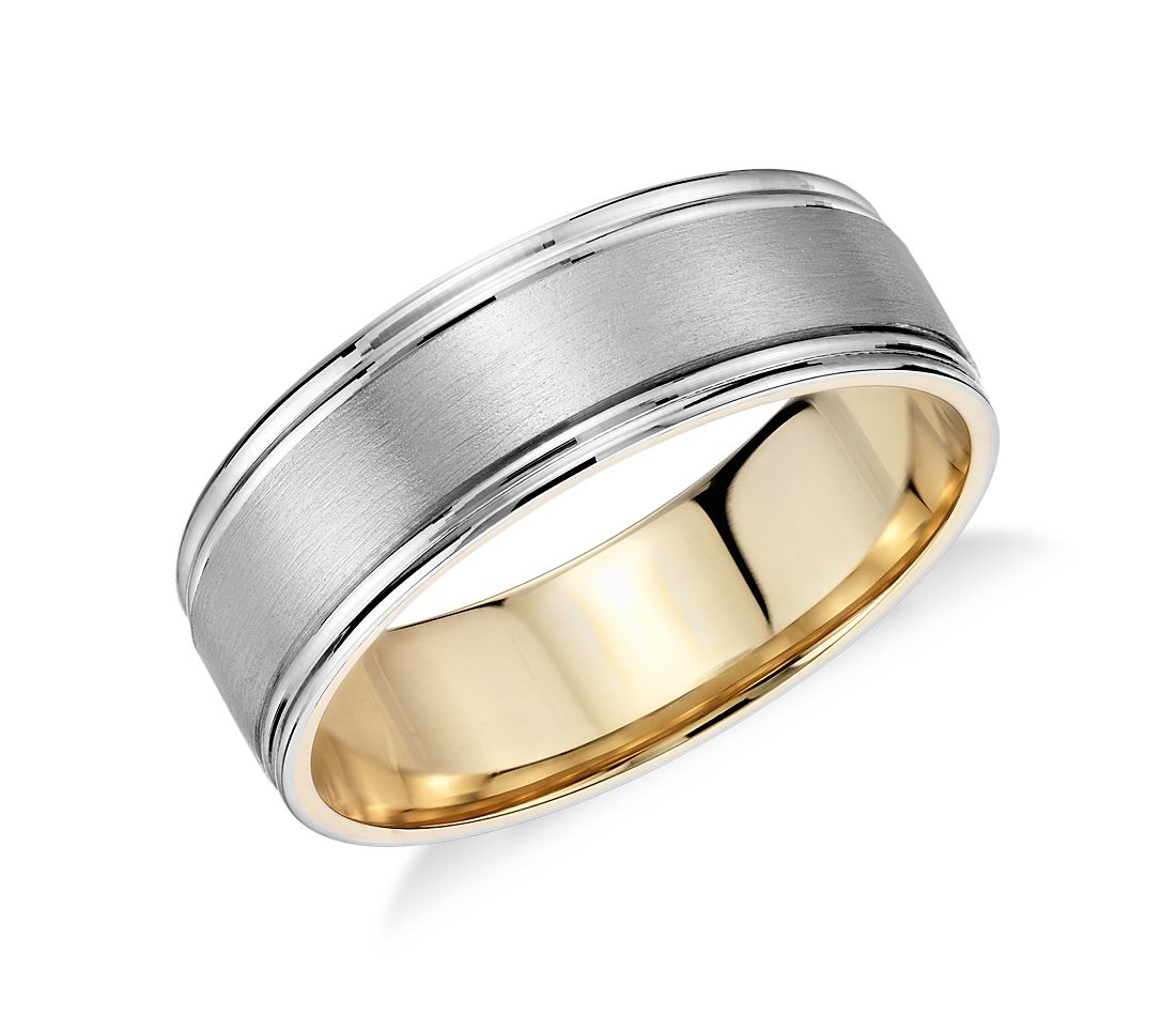 Brushed Inlay Wedding Ring in Platinum and 18k Yellow Gold  7mm Brushed Inlay Wedding Ring in Platinum and 18k Yellow Gold  7mm  . Inlay Wedding Bands. Home Design Ideas
