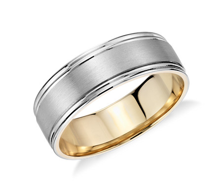 Brushed Inlay Wedding Ring in Platinum and 18k Yellow Gold (7mm)