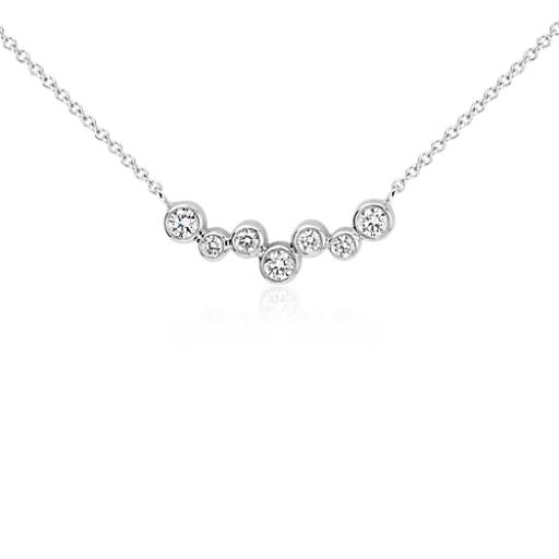 Bubble Bar Diamond Necklace In 14k White Gold 1 3 Ct Tw