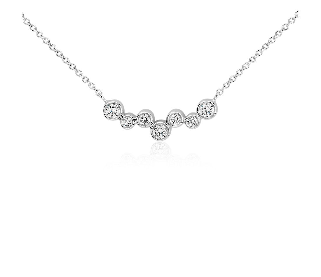 Bubble Bar Diamond Necklace in 14k White Gold (1/3 ct. tw.)