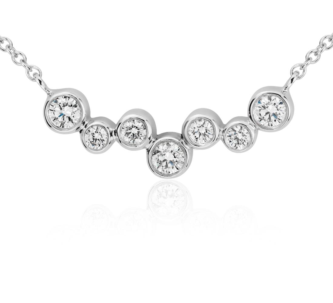 Collar de diamantes con barra y burbujas en oro blanco de 14 k (1/3 qt. total)