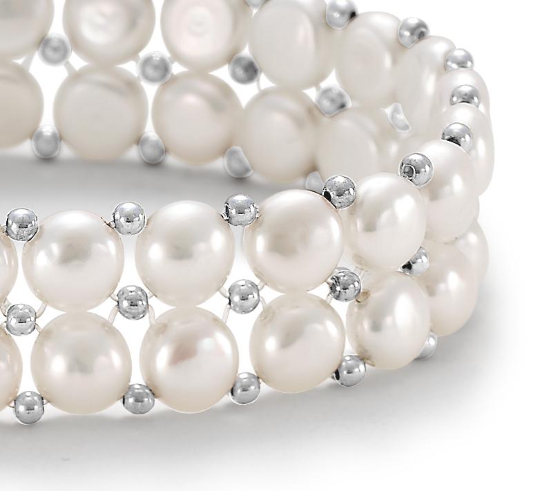 Bracelet de perles de culture d'eau douce boutons avec argent sterling